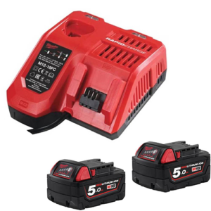 Milwaukee M18NRG-502 Energy Pack M12-18FC Fast Charger and 2x M18B5 5Ah Batteries