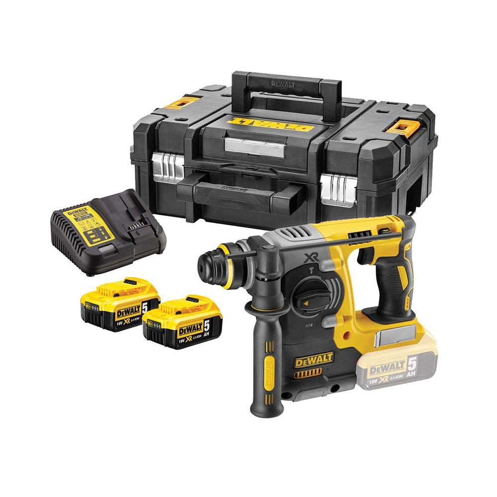 Dewalt DCH273P2T 18V XR SDS+ Bohrhammer mit 2x 5Ah Akkus, Ladegerät und Koffer